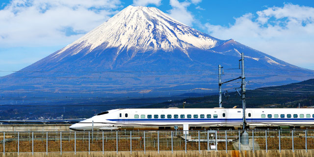 Shinkansen bullet train & Mt. Fuji