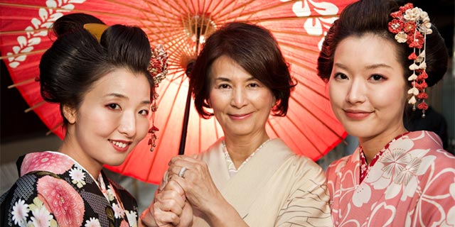 Mother & daughters in traditional Kimonos