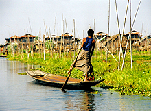 Rower on Inle Lake