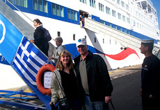 Friendly Planet travelers boarding in Piraeus