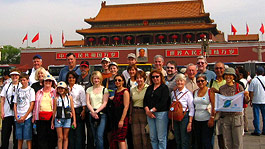Friendly Planet passengers at the Tiananmen gate