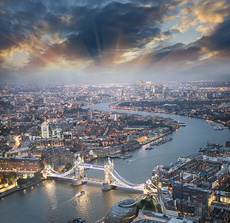 Aerial view of Thames River, London