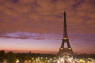 The Eiffel Tower at sunrise.
