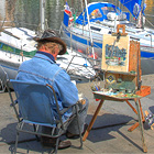 Artist painting the harbor, Honfleur photo by Pir6mon