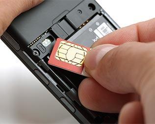 Inserting a SIM card