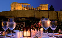 Dining with view of the Acropolis