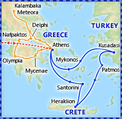 Athens & 3 Day Greek Isles Cruise plus Classical Greece optional extension itinerary