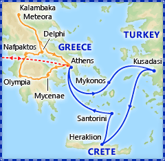 Athens & 3 Day Cruise Summer 2013 itinerary