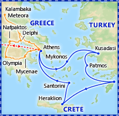 Athens & 4 Day Greek Isles Cruise plus Classical Greece optional extension tour itinerary