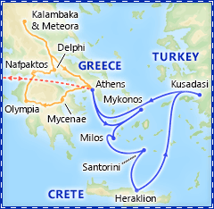 Athens & 7 Day Greek Isles Cruise itinerary