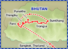 Beautiful Bhutan tour itinerary map