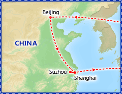 Beijing & Shanghai Express tour itinerary map