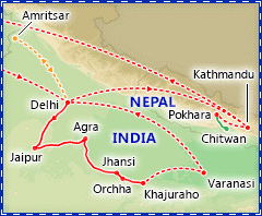 Best of India & Nepal tour itinerary map