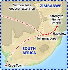 Best of South Africa itinerary map
