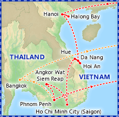 Best of Vietnam & Cambodia itinerary map