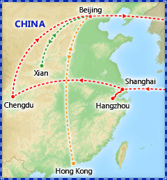 China Delight tour itinerary map