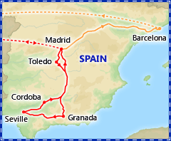 Discover Spain 2015 itinerary map