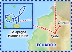 Ecuador & the Galapagos Northern Cruise Itinerary Map