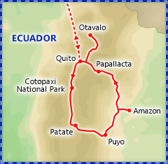 Exotic Ecuador itinerary map