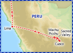 Exotic Peru itinerary map