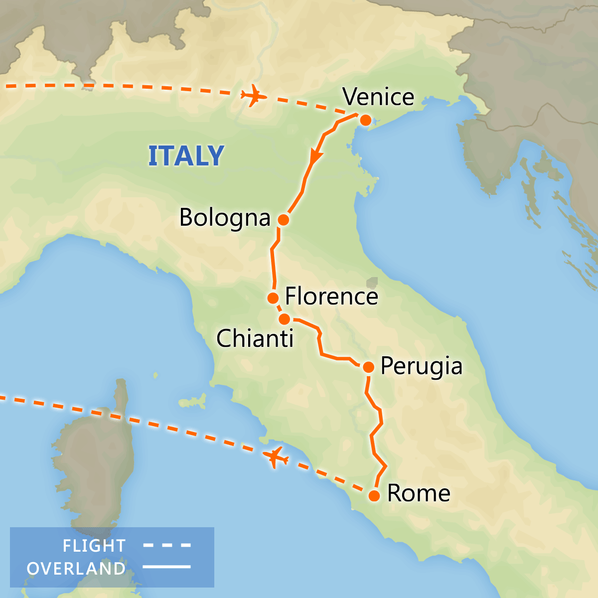 Italian Treasures tour itinerary