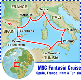 MSC Fantasia Cruise: Spain, France, Italy & Tunisia tour itinerary