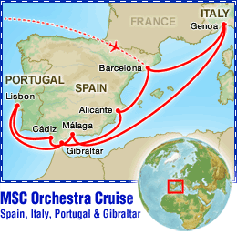 MSC Orchestra Cruise: Spain, Italy, Portugal & Gibraltar tour itinerary