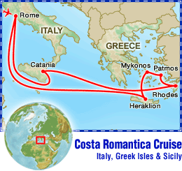 Costa Romantica Cruise: Italy, Greek Isles & Sicily tour itinerary