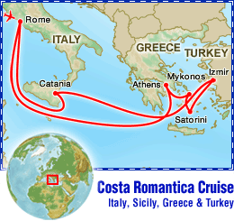 Costa Romantica Cruise: Italy, Sicily, Greece & Turkey tour itinerary