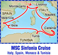 MSC Sinfonia Golf Cruise itinerary map