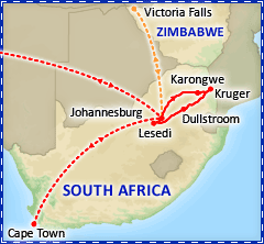 South African Explorer plus Victoria Falls optional extension tour itinerary