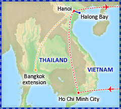 A Taste of Vietnam tour itinerary map
