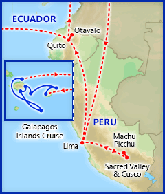 Peru, Ecuador & the Galapagos itinerary map