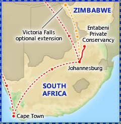 A Taste of South Africa itinerary map