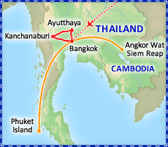 Thailand Highlights tour itinerary map