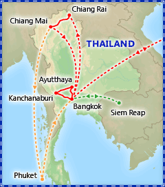Treasures of Thailand itinerary map