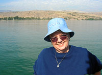 Carol Pederson on the Sea of Galilee